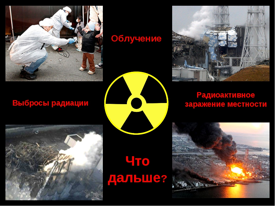 Выбросы радиации Радиоактивное заражение местности Что дальше? Облучение