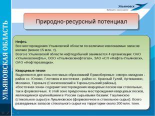 Природно-ресурсный потенциал Нефть Все месторождения Ульяновской области по в
