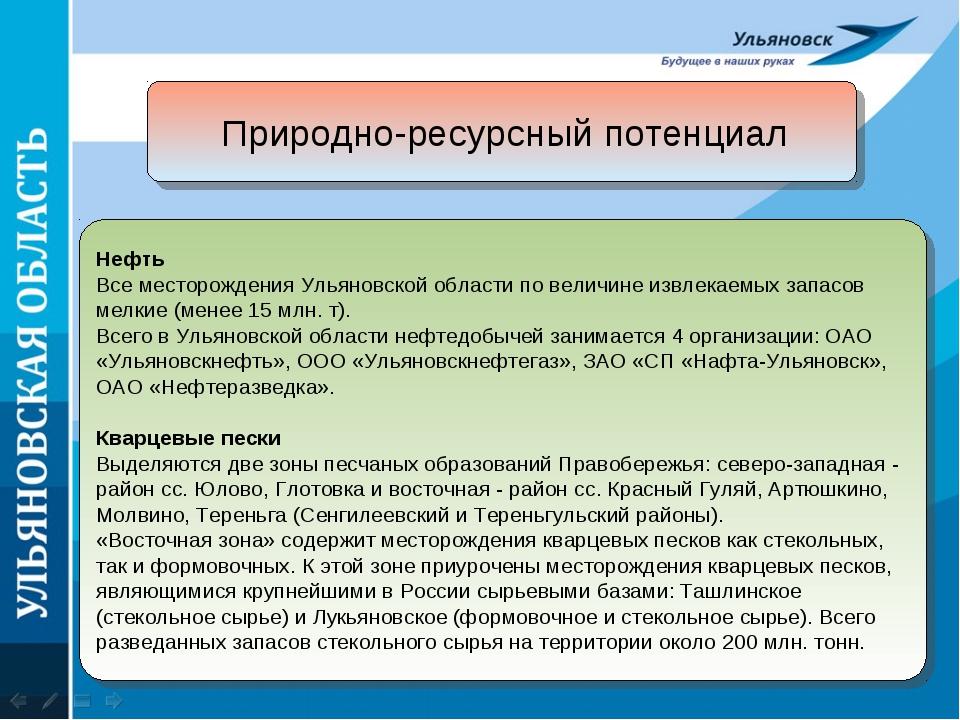 Природно-ресурсный потенциал Нефть Все месторождения Ульяновской области по в...