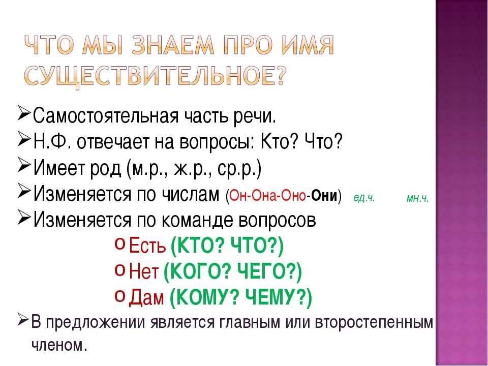 Самостоятельная часть речи. Н.Ф. отвечает на вопросы: Кто? Что? Имеет род (м....