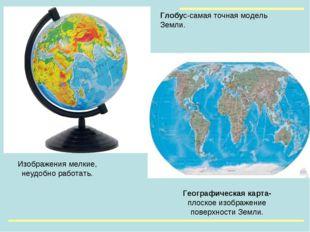 Географическая карта- плоское изображение поверхности Земли. Изображения мелк
