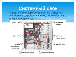 Основной блок компьютера. В нем находятся внутренние устройства. К нему подкл