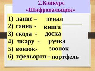 2.Конкурс «Шифровальщик» ланпе – ганик - скода - чкару - вонзок- тфельортп -