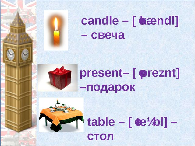 candle – [ˈkændl] – свеча present– [ˈpreznt] –подарок table – [ˈteɪbl] – стол