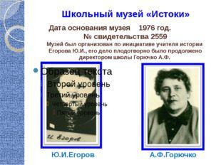 Школьный музей «Истоки» Дата основания музея 1976 год. № свидетельства 2559