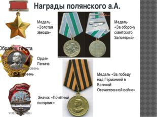 Награды полянского а.А. Медаль «Золотая звезда» Орден Ленина Значок «Почётный