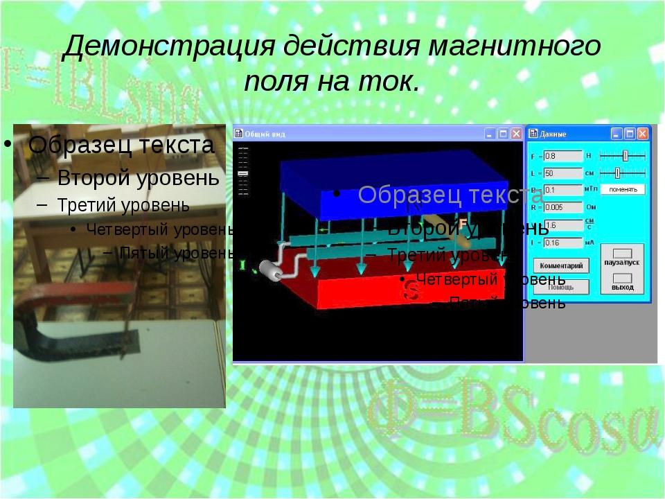 Демонстрация действия магнитного поля на ток.