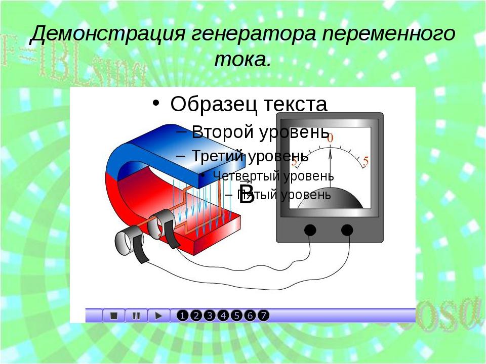 Демонстрация генератора переменного тока.