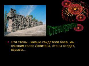 Эти стены - живые свидетели боев, мы слышим голос Левитана, стоны солдат, взр