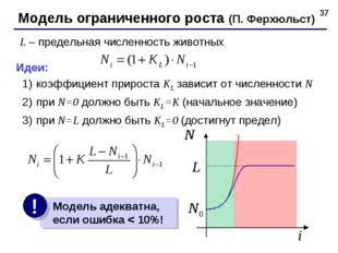 * Модель ограниченного роста (П. Ферхюльст) L – предельная численность животн