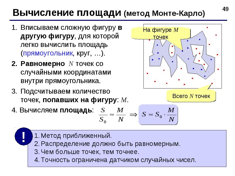 * Вычисление площади (метод Монте-Карло) Вписываем сложную фигуру в другую фи...