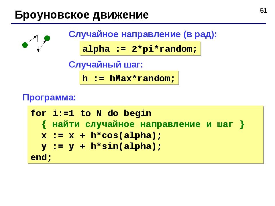 * Броуновское движение Случайный шаг: Случайное направление (в рад): alpha :=...