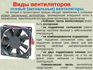 На сегодня в процессорных кулерах находят применение в основном осевые (аксиа