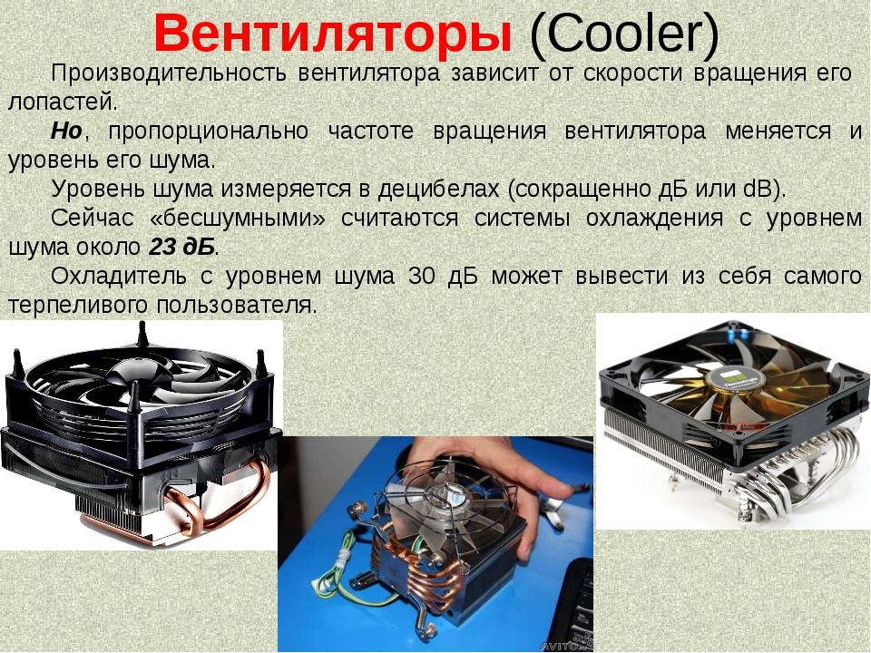 Вентиляторы (Cooler) Производительность вентилятора зависит от скорости враще...