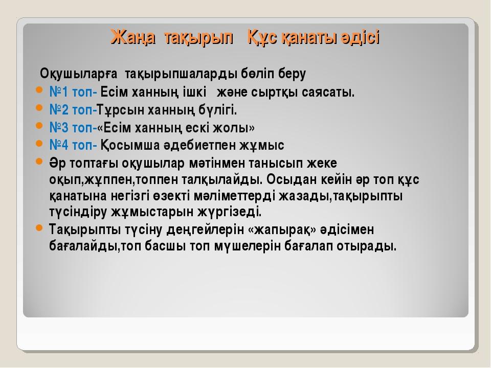 Жаңа тақырып Құс қанаты әдісі Оқушыларға тақырыпшаларды бөліп беру №1 топ-...