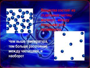 Вещества состоят из отдельных частиц-молекул , между которыми есть промежутк