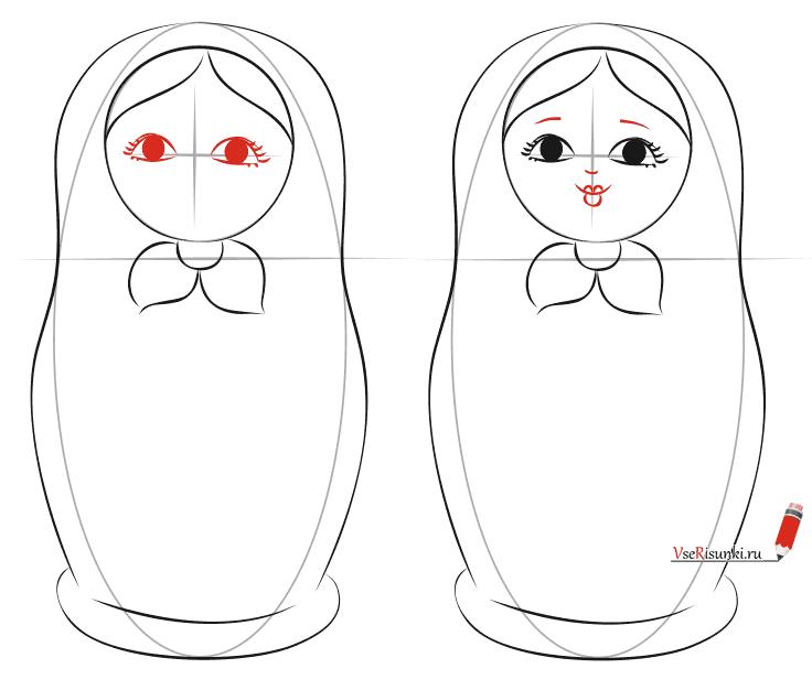 Как нарисовать матрёшку пошагово