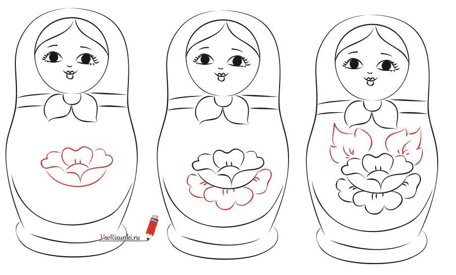 Как нарисовать матрешку карандашом поэтапно 6