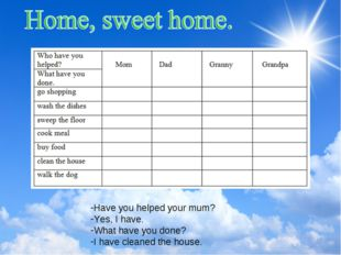 Have you helped your mum? Yes, I have. What have you done? I have cleaned the