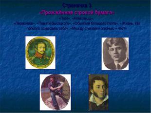 Страничка 3 «Прожжённая строкой бумага» «Поэт», «Александр», «Лермонтов», «Па