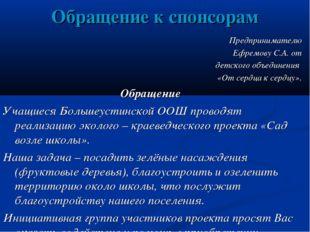 Обращение к спонсорам Предпринимателю Ефремову С.А. от детского объединения «