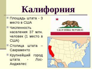 Калифорния Площадь штата - 3 место в США Численность населения 37 млн. челове