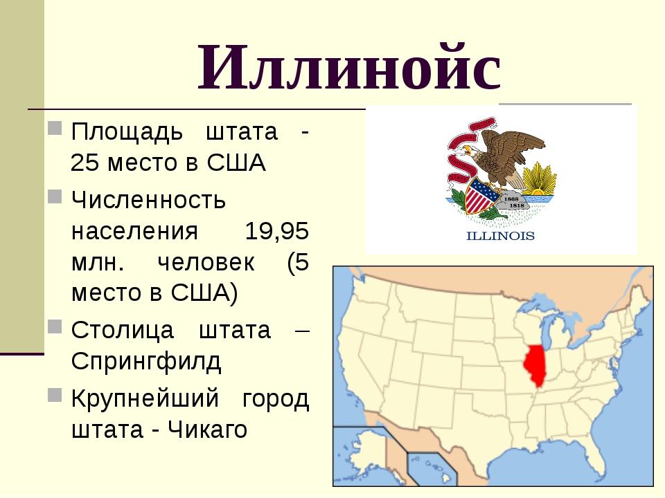 Иллинойс Площадь штата - 25 место в США Численность населения 19,95 млн. чело...