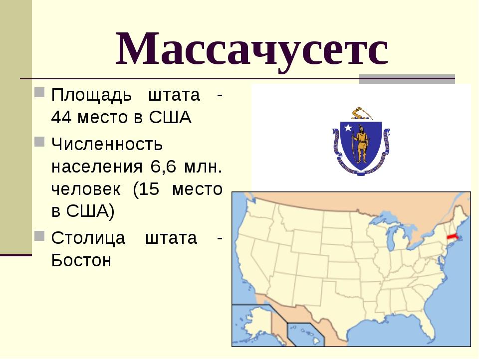 Массачусетс Площадь штата - 44 место в США Численность населения 6,6 млн. чел...