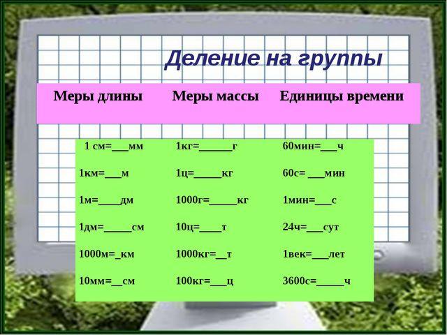 Деление на группы Меры длины Меры массы Единицы времени 1 см=___мм1кг=______...