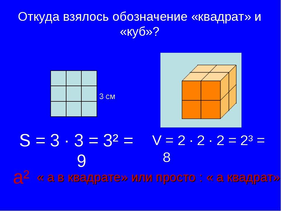 Откуда взялось обозначение «квадрат» и «куб»? S = 3 ∙ 3 = 3² = 9 V = 2 ∙ 2 ∙...