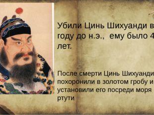 Убили Цинь Шихуанди в 210 году до н.э., ему было 48 лет. После смерти Цинь Ш