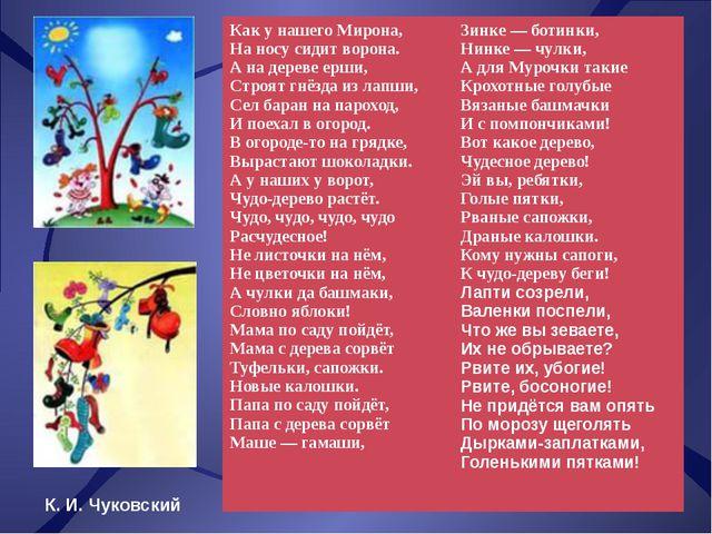 К. И. Чуковский Как у нашего Мирона, На носу сидит ворона. А на дереве ерши,...