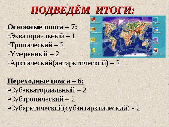 ПОДВЕДЁМ ИТОГИ: Основные пояса – 7: Экваториальный – 1 Тропический – 2 Умерен...