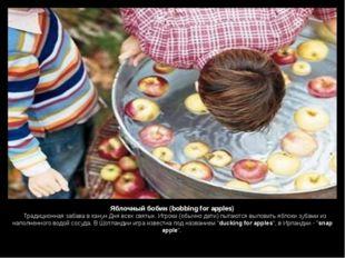 Яблочный бобин (bobbing for apples)  Традиционная забава в канун Дня всех