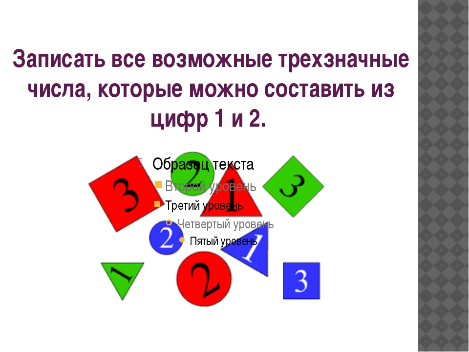 Записать все возможные трехзначные числа, которые можно составить из цифр 1 и...