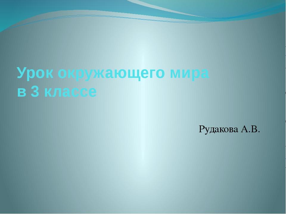 Урок окружающего мира в 3 классе Рудакова А.В.