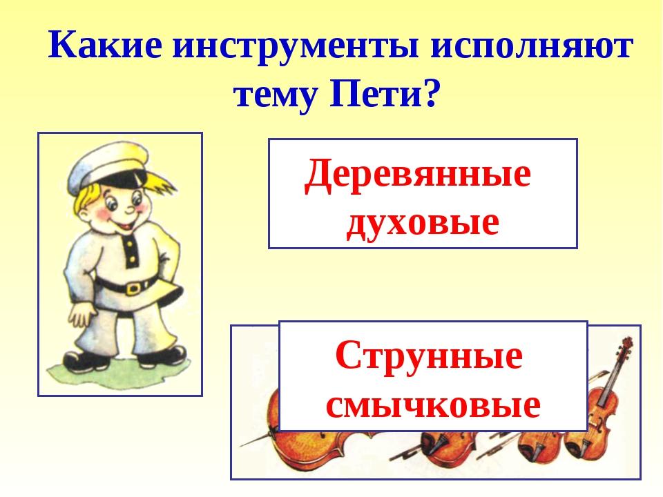Струнные смычковые Какие инструменты исполняют тему Пети? Деревянные духовые