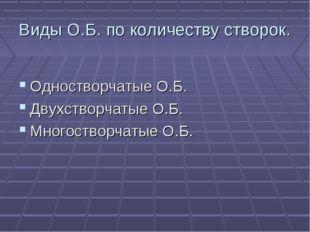 Виды О.Б. по количеству створок. Одностворчатые О.Б. Двухстворчатые О.Б. Мног