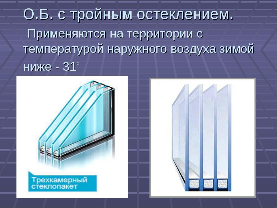 О.Б. с тройным остеклением. Применяются на территории с температурой наружног...