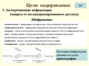 Цели кодирования: 3. Засекречивание информации (защита от несанкционированног