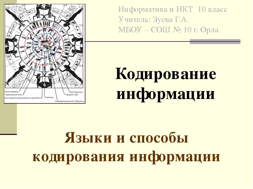 Информатика и ИКТ 10 класс Учитель: Зуева Г.А. МБОУ – СОШ № 10 г. Орла Языки...