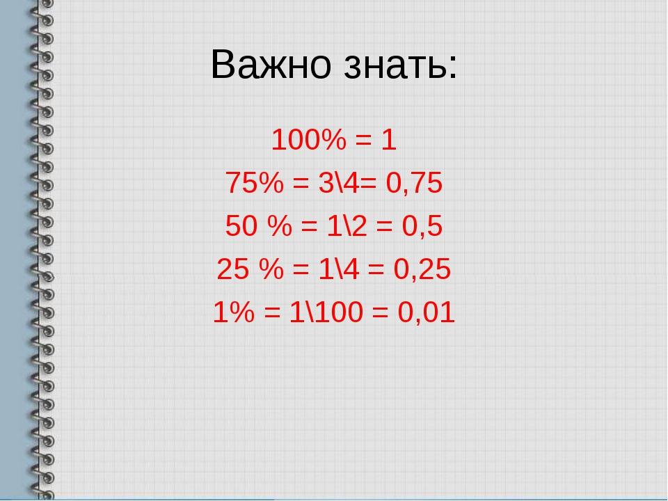 Важно знать: 100% = 1 75% = 3\4= 0,75 50 % = 1\2 = 0,5 25 % = 1\4 = 0,25 1% =...