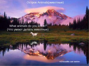 «Crocodile can swim» What animals do you know? (Что умеют делать животные) О