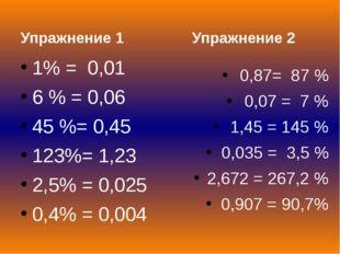Упражнение 1 1% = 0,01 6 % = 0,06 45 %= 0,45 123%= 1,23 2,5% = 0,025 0,4% =
