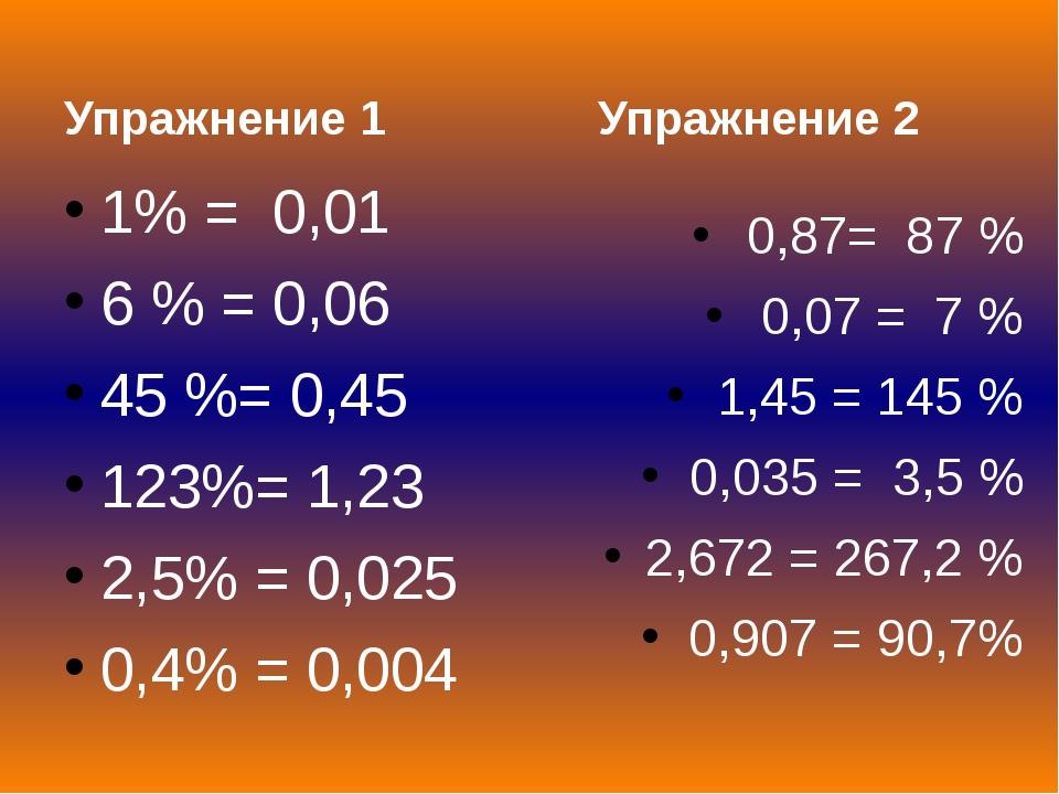 Упражнение 1 1% = 0,01 6 % = 0,06 45 %= 0,45 123%= 1,23 2,5% = 0,025 0,4% =...
