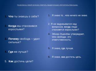 На вопросы левой колонки ответить придаточными обстоятельственными. Что ты зн