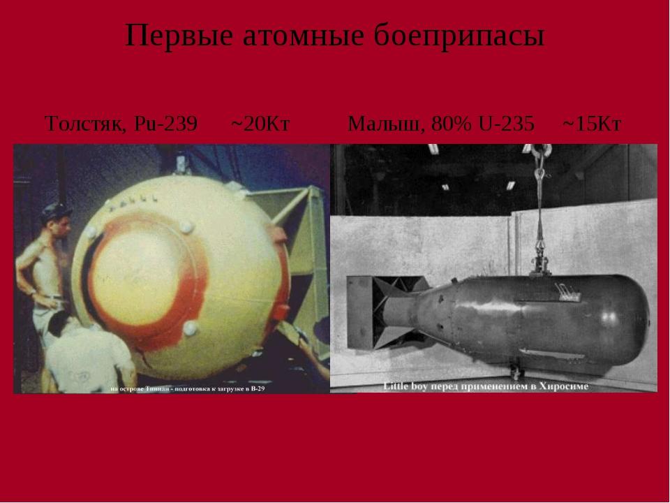 Первые атомные боеприпасы Толстяк, Pu-239 ~20Кт Малыш, 80% U-235 ~15Кт