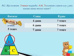 №2. Бір кәмпит 5 теңге тұрады. 4 (6, 7) кәмпит сатып алу үшін қанша ақша төле
