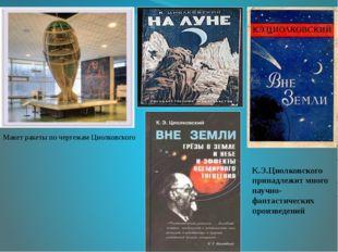 Макет ракеты по чертежам Циолковского К.Э.Циолковского принадлежит много нау