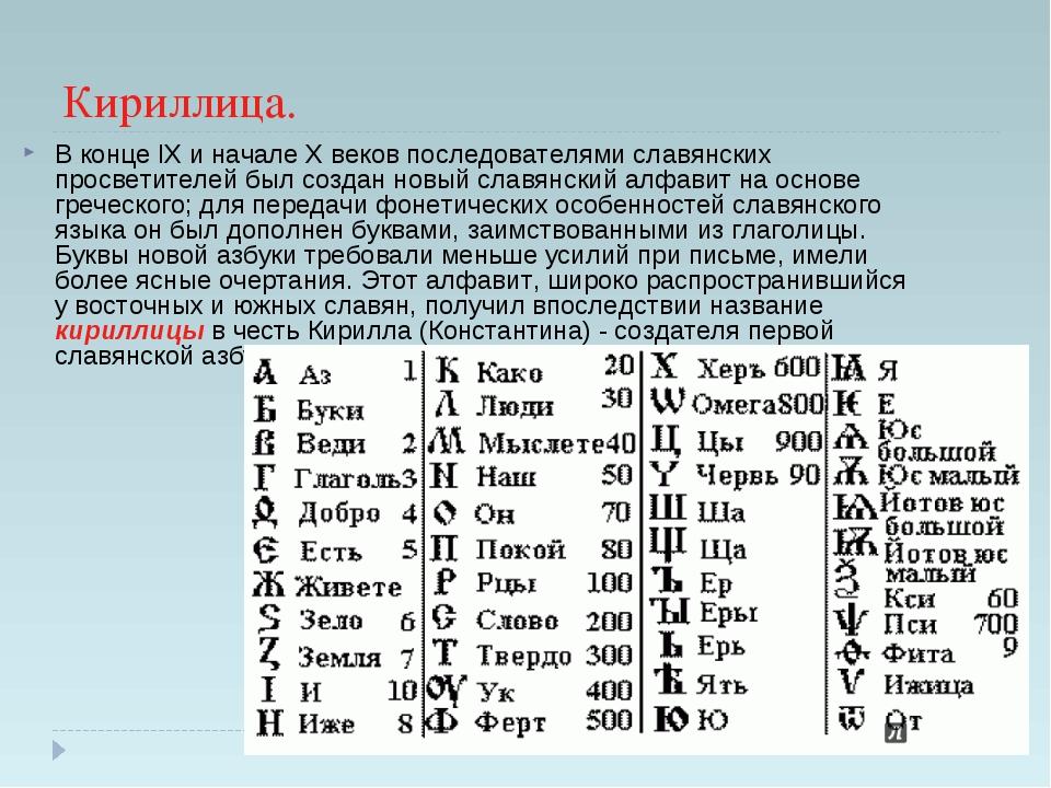 Кириллица. В конце IX и начале X веков последователями славянских просветител...